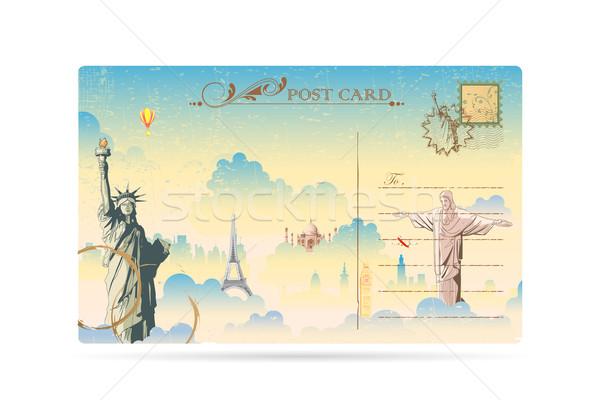 Viaggio cartolina illustrazione mondo noto mail Foto d'archivio © vectomart