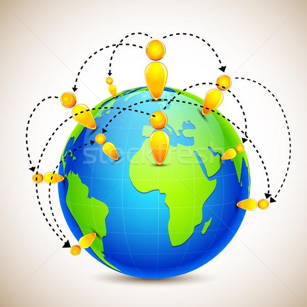 Földgömb világ széles emberi hálózat illusztráció Stock fotó © vectomart