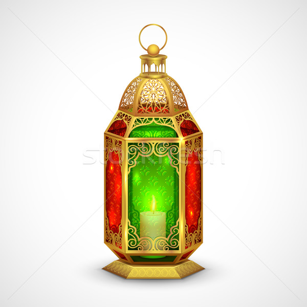 Illuminated lamp on Eid Mubarak (Happy Eid) background Stock photo © vectomart