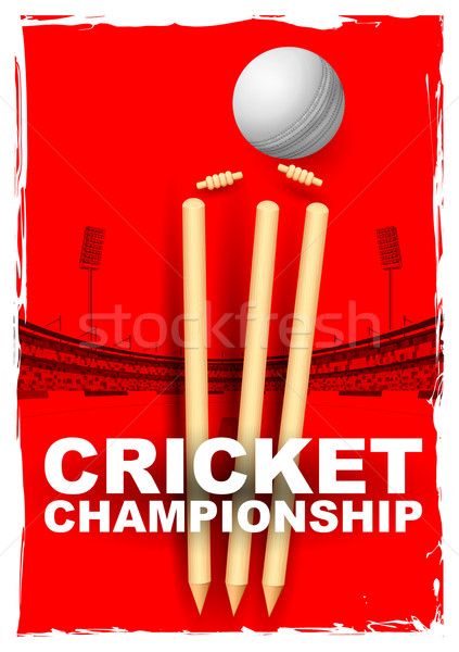 Cricket stumps and bails hit by a ball Stock photo © vectomart