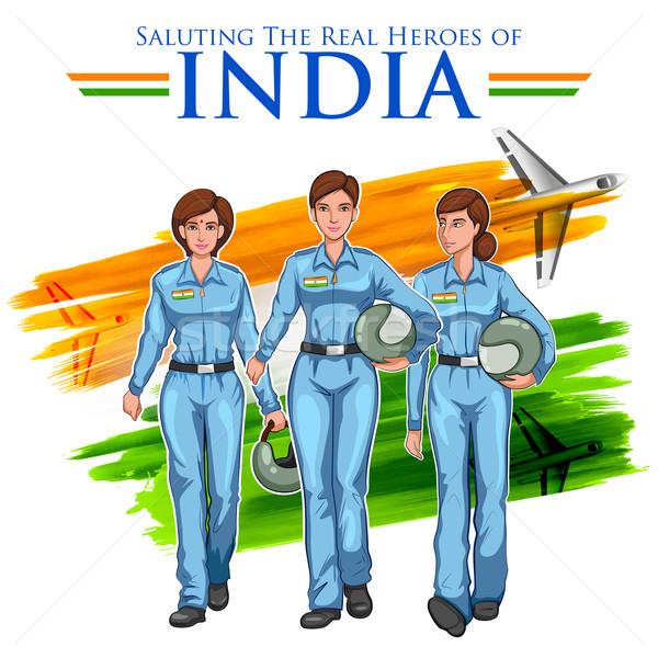 Vrouwen piloot indian tonen ontwikkelen Indië Stockfoto © vectomart