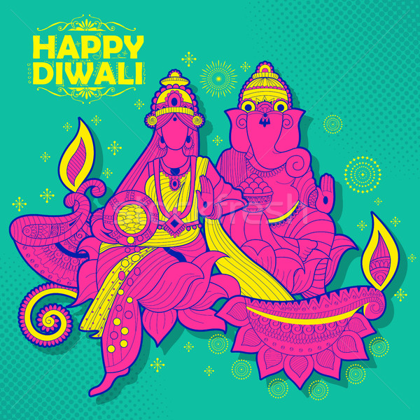 Stock photo: Goddess Lakshmi and Lord Ganesha on happy Diwali Holiday doodle background for light festival of Ind