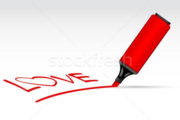 Wyróżnienia pióro miłości ilustracja odizolowany farby Zdjęcia stock © vectomart