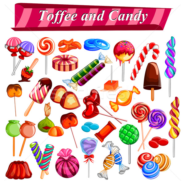 Full collection of different colorful candy and toffee chocolate Stock photo © vectomart