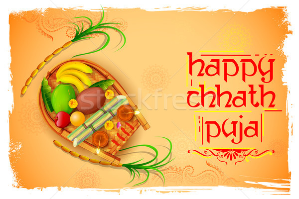 Happy Chhath Puja Holiday background for Sun festival of India Stock photo © vectomart