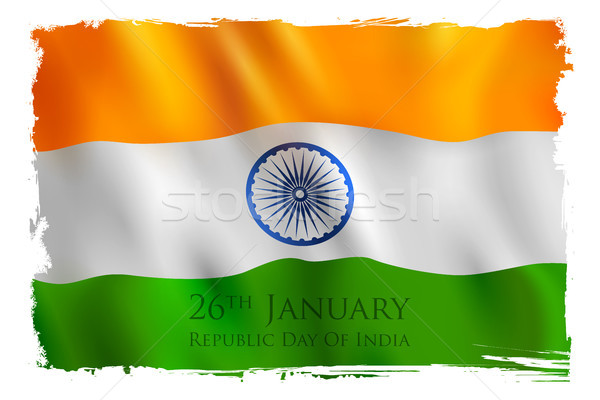 Tricolor banner indian banderą szczęśliwy republika Zdjęcia stock © vectomart