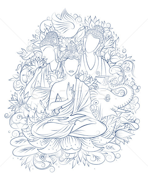 Buddy medytacji festiwalu szczęśliwy ilustracja Zdjęcia stock © vectomart