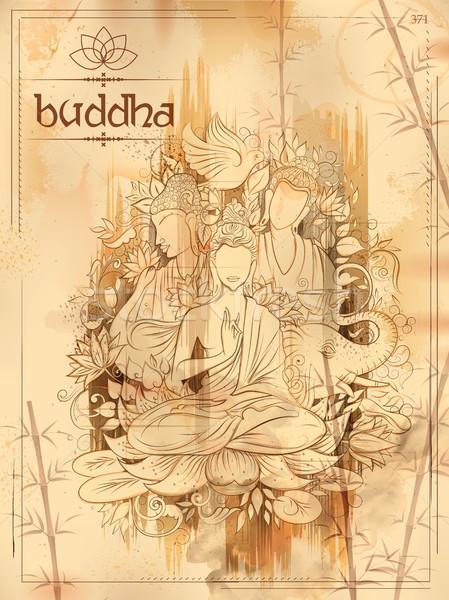 Будду медитации фестиваля счастливым иллюстрация Сток-фото © vectomart