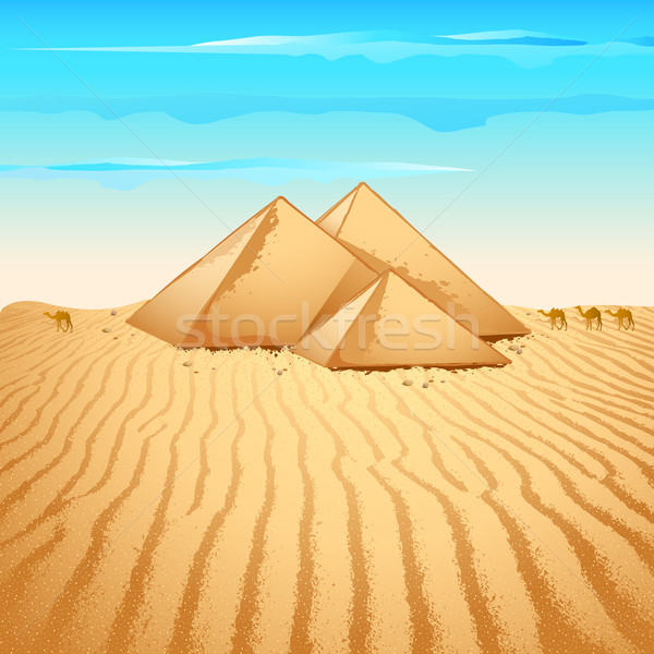 Pyramid in Desert Stock photo © vectomart