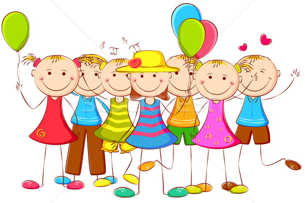 Kids standing with Balloon Stock photo © vectomart