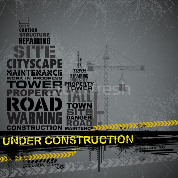 építkezés tipográfia illusztráció épület város utazás Stock fotó © vectomart