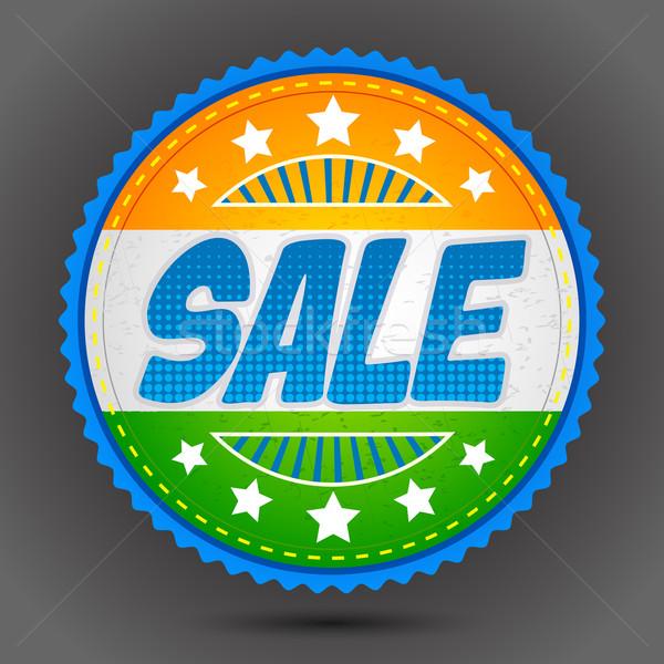Sprzedaży odznakę indian tricolor ilustracja banderą Zdjęcia stock © vectomart