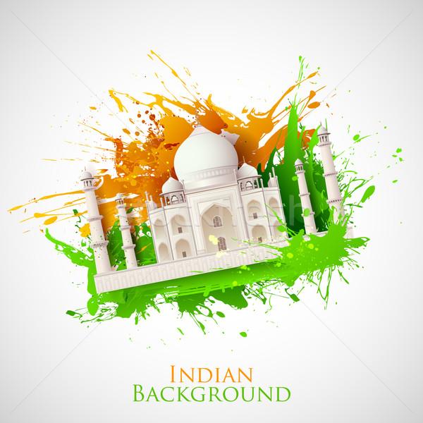 Koszos Taj Mahal illusztráció trikolor India grunge Stock fotó © vectomart