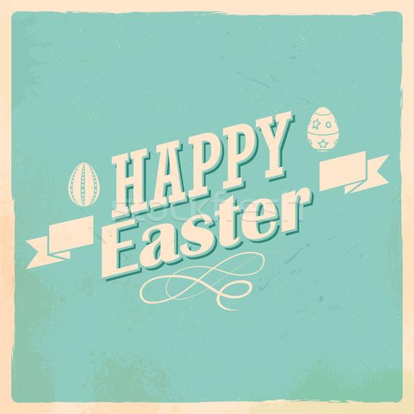 Kellemes húsvétot tipográfia illusztráció húsvét buli boldog Stock fotó © vectomart