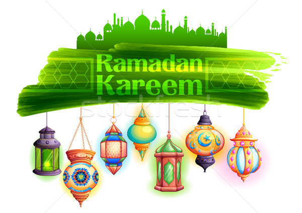 Ramadan Kareem greeting with illuminated lamp Stock photo © vectomart