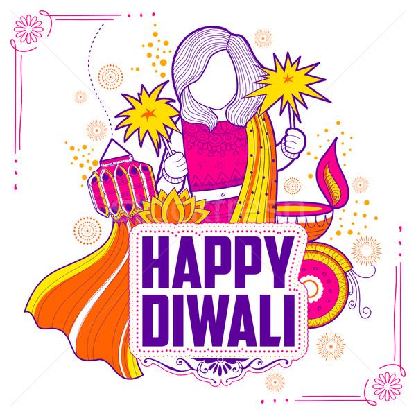 Kid celebrating happy Diwali Holiday doodle background for light festival of India Stock photo © vectomart