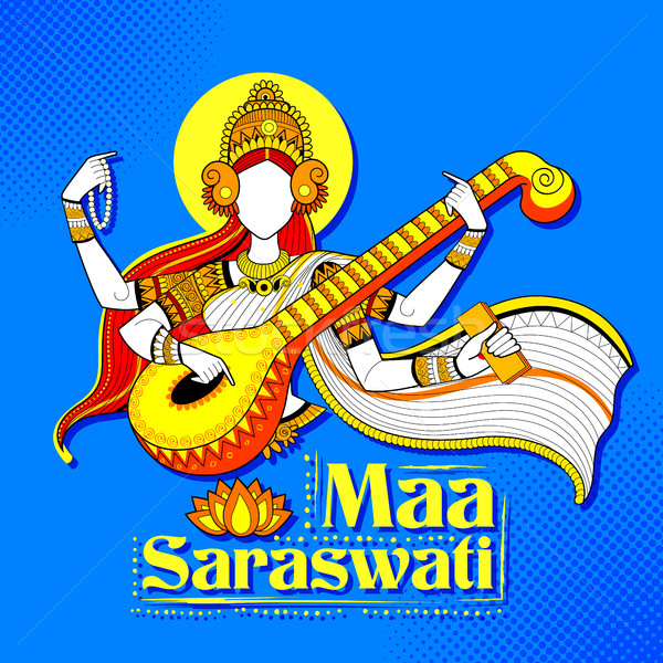 богиня мудрость Индия фестиваля иллюстрация искусства Сток-фото © vectomart