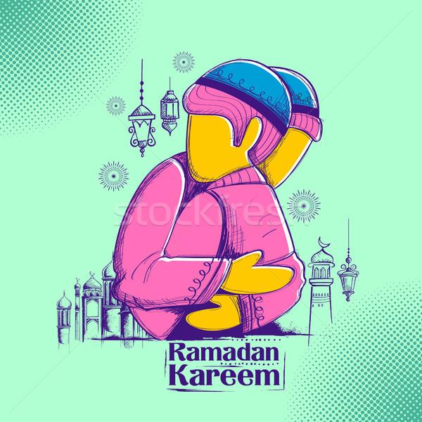Emberek ramadán nagyvonalú iszlám vallásos fesztivál Stock fotó © vectomart