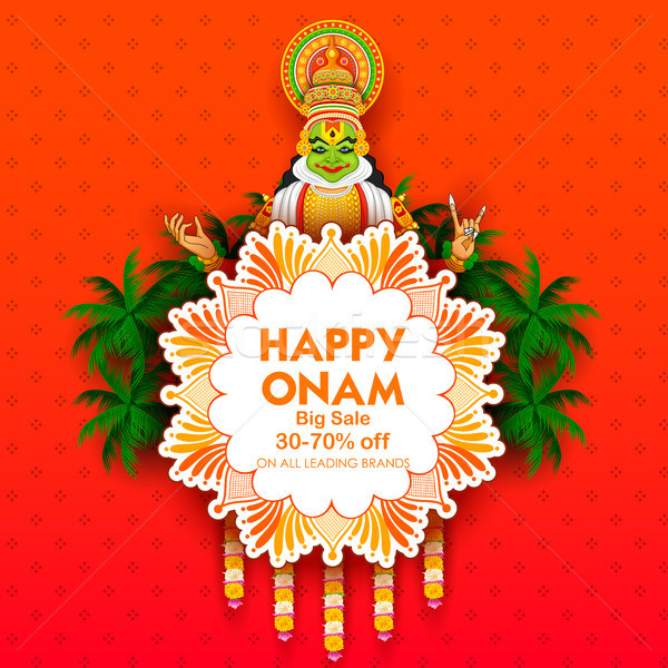 Kathakali dancer on advertisement and promotion background for Happy Onam festival of South India Ke Stock photo © vectomart
