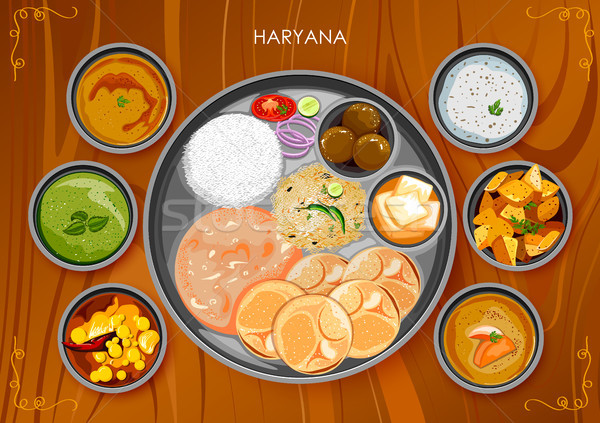Traditional Haryanavi cuisine and food meal thali of Haryana India Stock photo © vectomart
