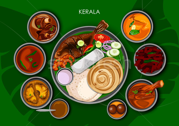 Traditional Keralite cuisine and food meal thali of Kerala India Stock photo © vectomart