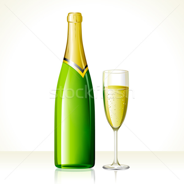 Champagne Glass and Bottle Stock photo © vectomart