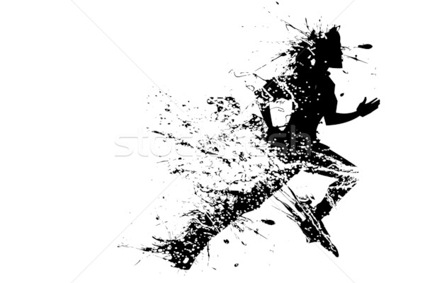 Coureur illustration silhouette blanche courir exercice Photo stock © vectomart