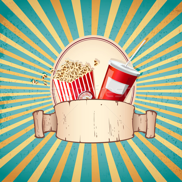 Cold Drink and Pop Corn Stock photo © vectomart