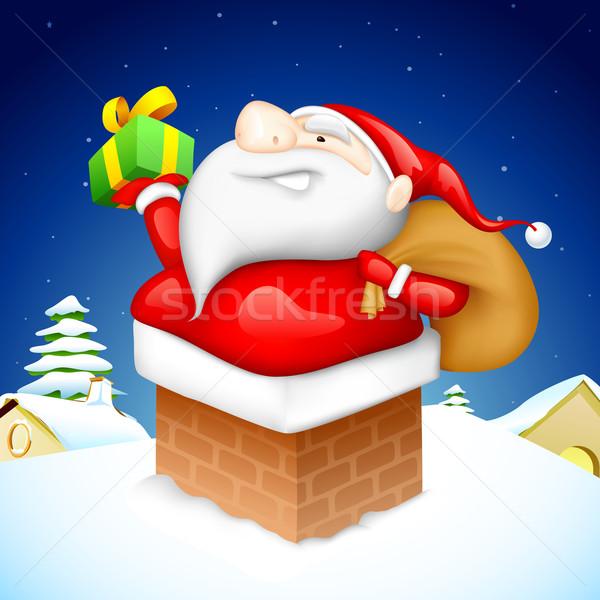 Santa entering through Fire Pipe Stock photo © vectomart