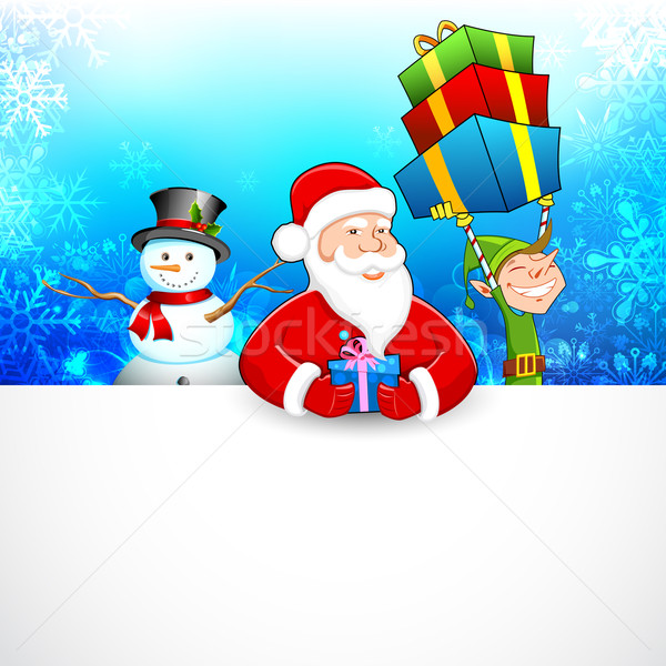 Santa Claus and Snowman wishing Merry Christmas Stock photo © vectomart