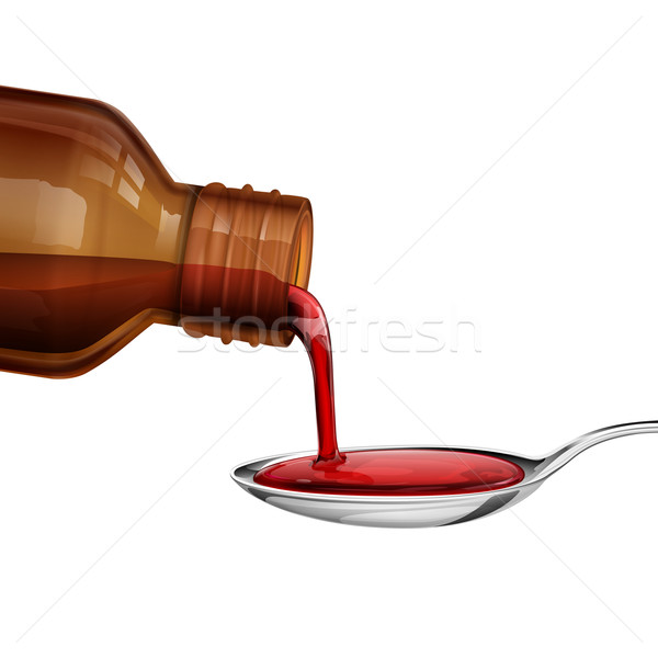 Bottle pouring Medicine Syrup in Spoon Stock photo © vectomart