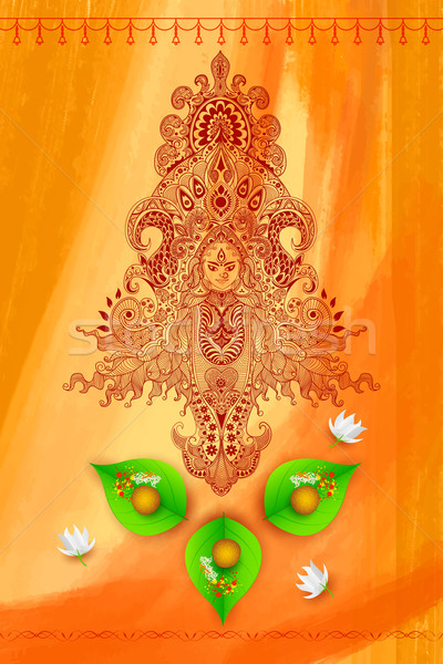 Goddess Durga against Watercolor Background Stock photo © vectomart
