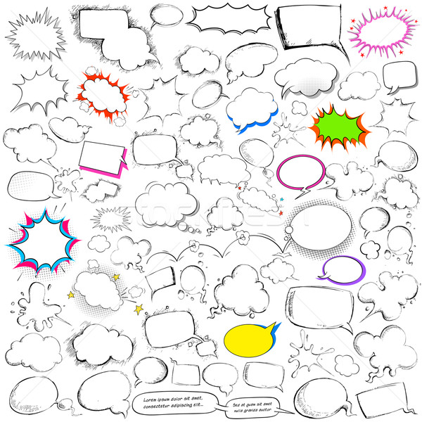 Comic style chat and speech bubble jumbo collection Stock photo © vectomart