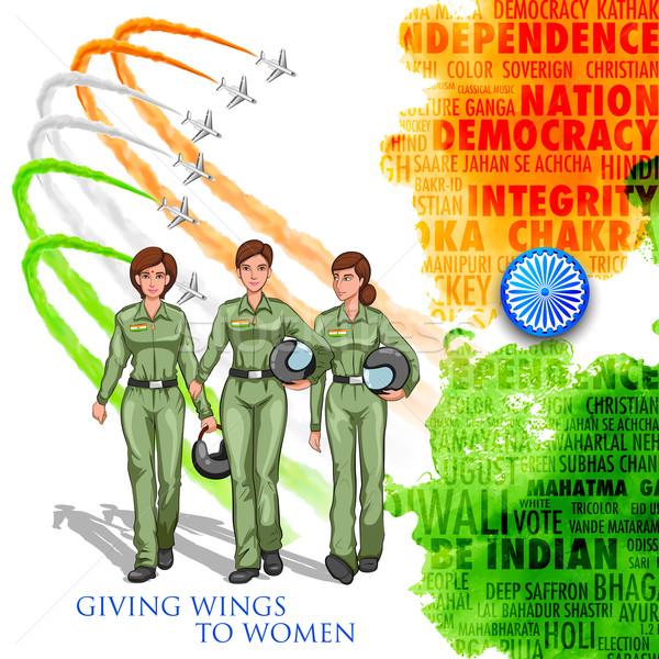 Stockfoto: Vrouwen · piloot · indian · tonen · ontwikkelen · Indië