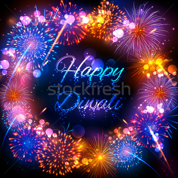 Firecracker on Happy Diwali Holiday background for light festival of India Stock photo © vectomart