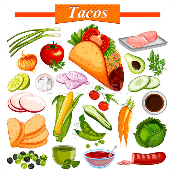 Food and Spice ingredient for Mexican snack Tacos Stock photo © vectomart