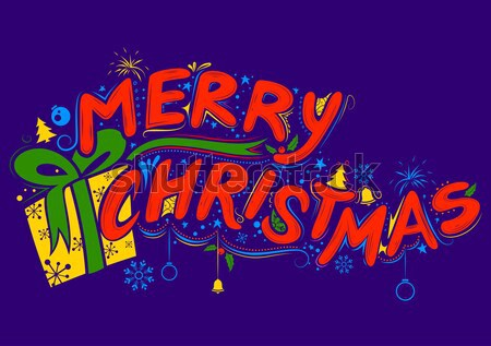 Stock photo: Merry Christmas Lettering Design Set typography style greeting background
