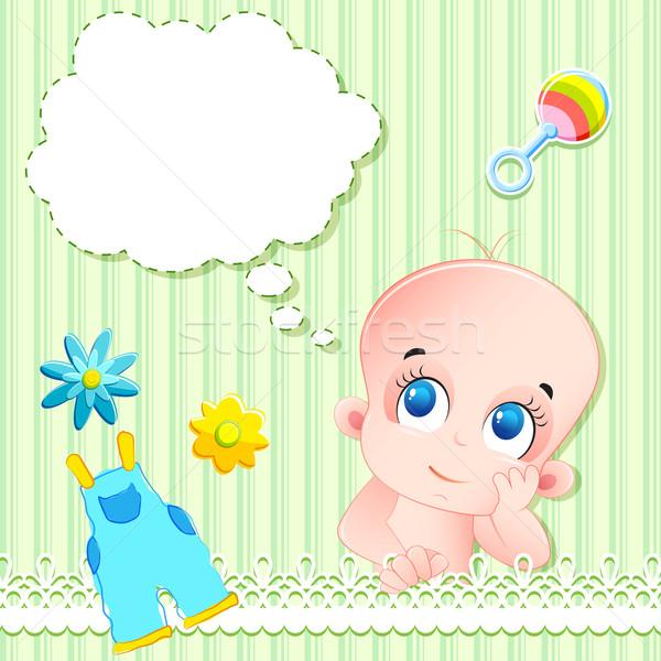 Baby arrivo carta illustrazione giocattoli del bambino famiglia Foto d'archivio © vectomart