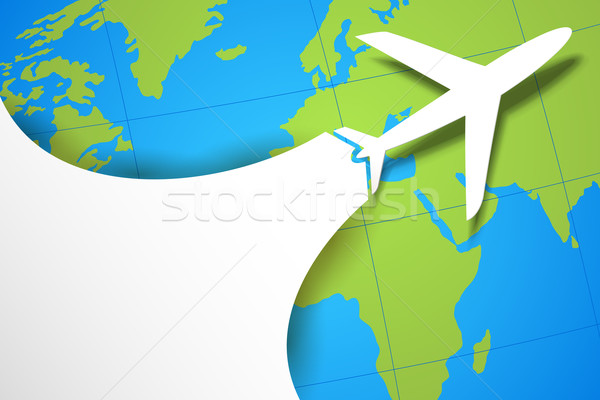 Airplane Taking off on Earth Map Stock photo © vectomart