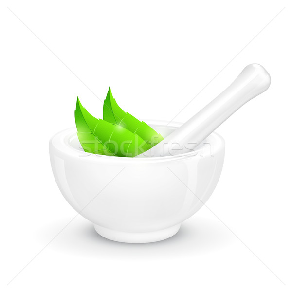 Mortar and Pestle with Herb Stock photo © vectomart