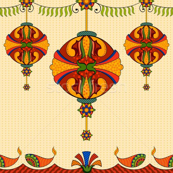 подвесной лампы Дивали украшение иллюстрация свет Сток-фото © vectomart