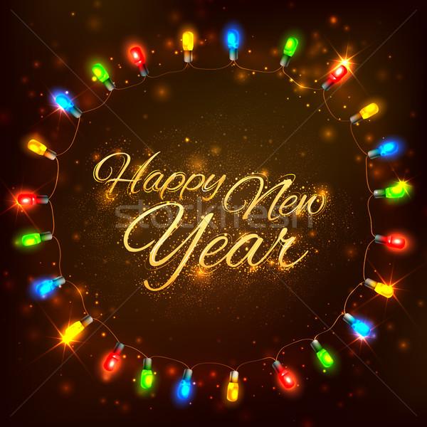 с Новым годом празднования аннотация свет Сток-фото © vectomart