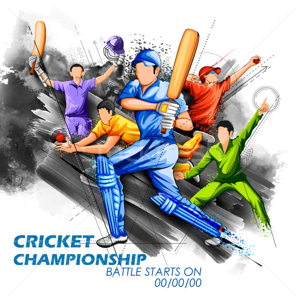 Bowler spielen Cricket Meisterschaft Sport Illustration Stock foto © vectomart