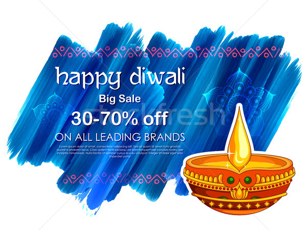 Burning Diya On Happy Diwali Holiday Sale Promotion