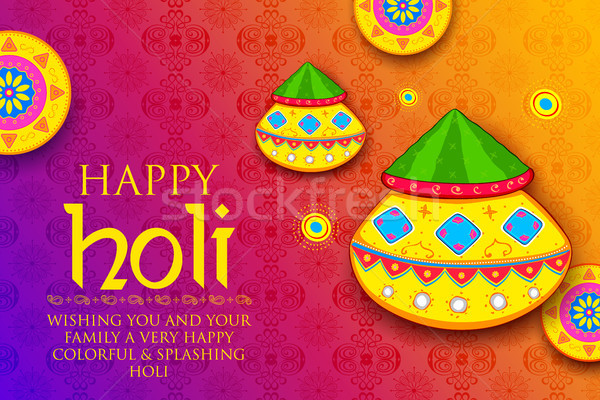 Powder color gulal for Happy Holi Background Stock photo © vectomart