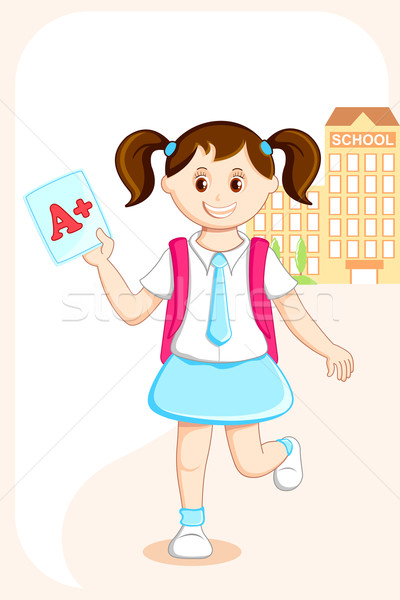 Girl with Grade Sheet Stock photo © vectomart