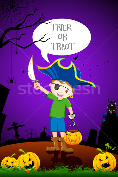Kid in Halloween Costume Stock photo © vectomart
