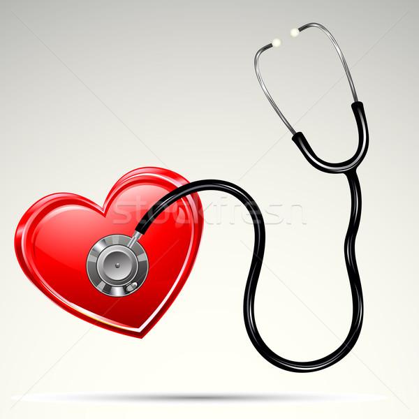 Sztetoszkóp szív illusztráció absztrakt orvos háttér Stock fotó © vectomart