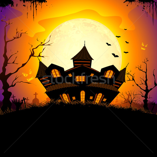 Kisértetjárta ház illusztráció elhagyatott halloween éjszaka Stock fotó © vectomart