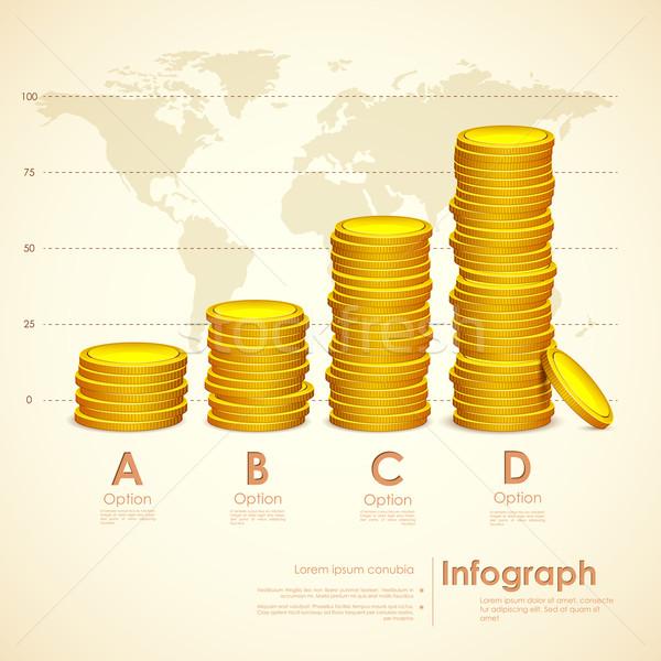 スタック 金貨 実例 世界地図 背景 ストックフォト © vectomart